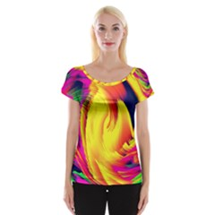 Stormy Yellow Wave Abstract Paintwork Women s Cap Sleeve Top