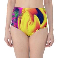 Stormy Yellow Wave Abstract Paintwork High-Waist Bikini Bottoms