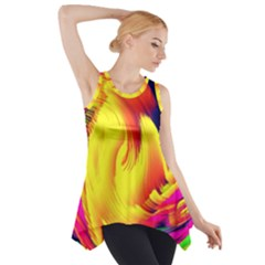 Stormy Yellow Wave Abstract Paintwork Side Drop Tank Tunic