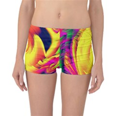 Stormy Yellow Wave Abstract Paintwork Reversible Bikini Bottoms