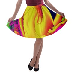 Stormy Yellow Wave Abstract Paintwork A-line Skater Skirt