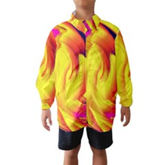 Stormy Yellow Wave Abstract Paintwork Wind Breaker (kids)