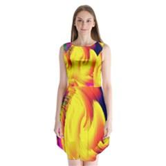 Stormy Yellow Wave Abstract Paintwork Sleeveless Chiffon Dress