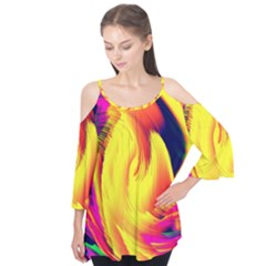 Stormy Yellow Wave Abstract Paintwork Flutter Tees