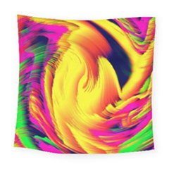 Stormy Yellow Wave Abstract Paintwork Square Tapestry (large)
