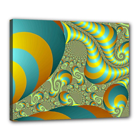 Gold Blue Fractal Worms Background Canvas 20  X 16