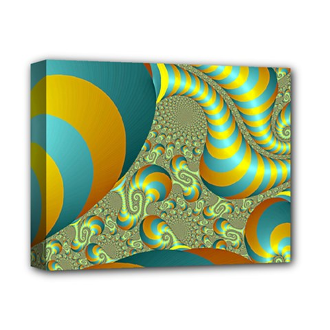 Gold Blue Fractal Worms Background Deluxe Canvas 14  x 11