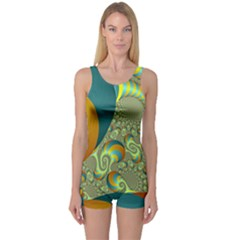 Gold Blue Fractal Worms Background One Piece Boyleg Swimsuit