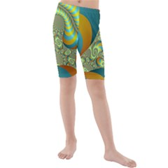 Gold Blue Fractal Worms Background Kids  Mid Length Swim Shorts
