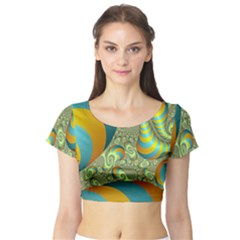 Gold Blue Fractal Worms Background Short Sleeve Crop Top (Tight Fit)