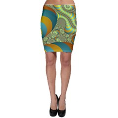 Gold Blue Fractal Worms Background Bodycon Skirt