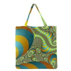 Gold Blue Fractal Worms Background Grocery Tote Bag
