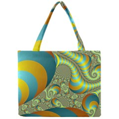 Gold Blue Fractal Worms Background Mini Tote Bag