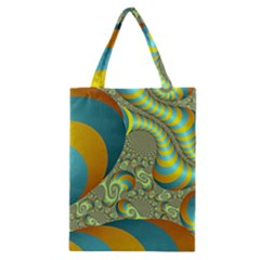 Gold Blue Fractal Worms Background Classic Tote Bag