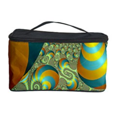 Gold Blue Fractal Worms Background Cosmetic Storage Case