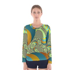Gold Blue Fractal Worms Background Women s Long Sleeve Tee