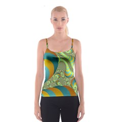 Gold Blue Fractal Worms Background Spaghetti Strap Top