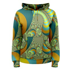 Gold Blue Fractal Worms Background Women s Pullover Hoodie