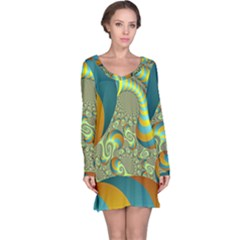 Gold Blue Fractal Worms Background Long Sleeve Nightdress