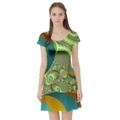 Gold Blue Fractal Worms Background Short Sleeve Skater Dress