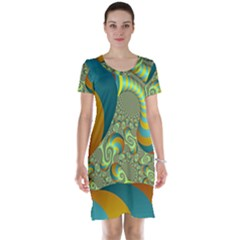 Gold Blue Fractal Worms Background Short Sleeve Nightdress