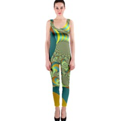 Gold Blue Fractal Worms Background Onepiece Catsuit