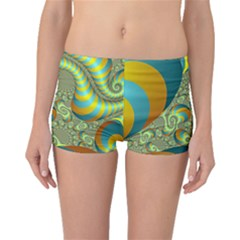 Gold Blue Fractal Worms Background Boyleg Bikini Bottoms