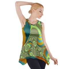 Gold Blue Fractal Worms Background Side Drop Tank Tunic