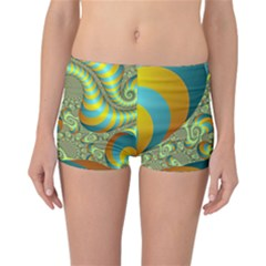 Gold Blue Fractal Worms Background Reversible Bikini Bottoms