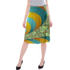 Gold Blue Fractal Worms Background Midi Beach Skirt