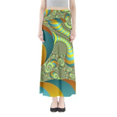 Gold Blue Fractal Worms Background Maxi Skirts