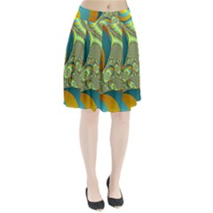 Gold Blue Fractal Worms Background Pleated Skirt