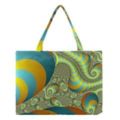 Gold Blue Fractal Worms Background Medium Tote Bag