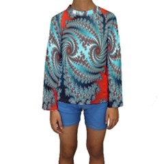 Digital Fractal Pattern Kids  Long Sleeve Swimwear