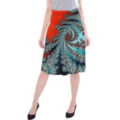 Digital Fractal Pattern Midi Beach Skirt