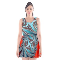 Digital Fractal Pattern Scoop Neck Skater Dress