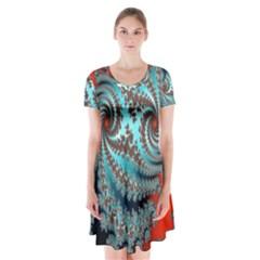 Digital Fractal Pattern Short Sleeve V Neck Flare Dress
