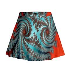 Digital Fractal Pattern Mini Flare Skirt