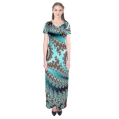 Digital Fractal Pattern Short Sleeve Maxi Dress