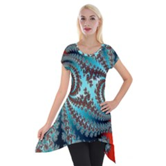 Digital Fractal Pattern Short Sleeve Side Drop Tunic