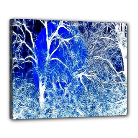 Winter Blue Moon Fractal Forest Background Canvas 20  x 16