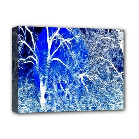 Winter Blue Moon Fractal Forest Background Deluxe Canvas 16  x 12