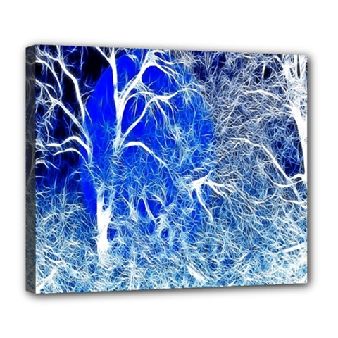 Winter Blue Moon Fractal Forest Background Deluxe Canvas 24  x 20