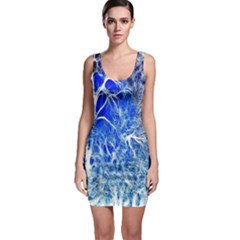 Winter Blue Moon Fractal Forest Background Sleeveless Bodycon Dress