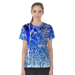 Winter Blue Moon Fractal Forest Background Women s Cotton Tee