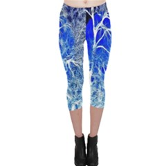 Winter Blue Moon Fractal Forest Background Capri Leggings