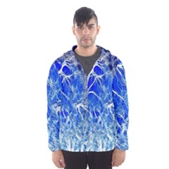 Winter Blue Moon Fractal Forest Background Hooded Wind Breaker (men)