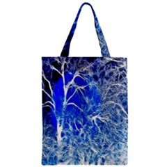 Winter Blue Moon Fractal Forest Background Zipper Classic Tote Bag