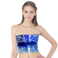 Winter Blue Moon Fractal Forest Background Tube Top