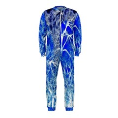 Winter Blue Moon Fractal Forest Background Onepiece Jumpsuit (kids)